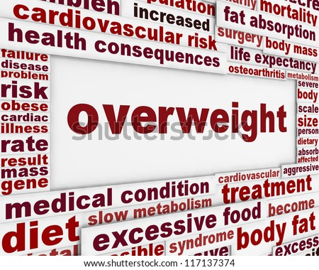Overweight medical warning message background. Obesity poster concept - stock photo