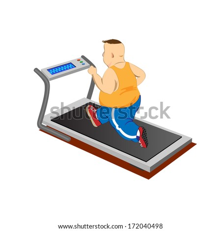 Overweight men running on a treadmill.Raster version - stock photo