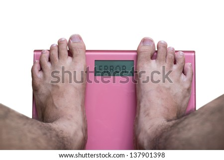 Overweight on the scale - stock photo
