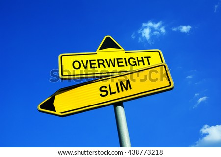 Overweight or Slim - Traffic sign with two options - decision to be care or not care about shape and weight of body - healthy diet, sporting, weight loss - stock photo