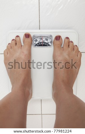 Overweight woman looking at weigh scale