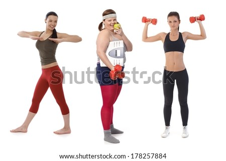 Overweight woman on diet doing fitness exercise with slim sporty girls. - stock photo