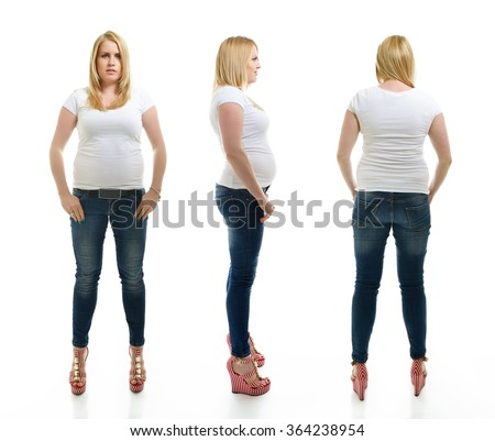Overweight young woman wearing sportwear, full length portrait. Front, side and back view, over white background. - stock photo