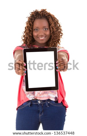 Overweighted african woman presenting your product in a tablet computer - stock photo