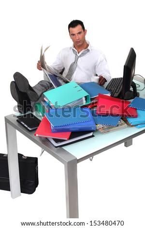 Overwhelmed executive - stock photo