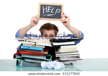 overwhelmed man asking for help - stock photo