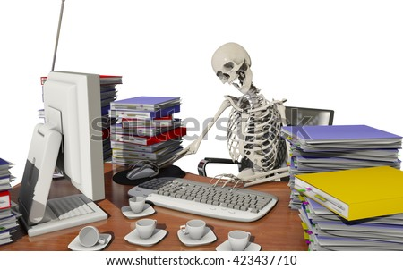 overwork death with white background, 3D rendering - stock photo