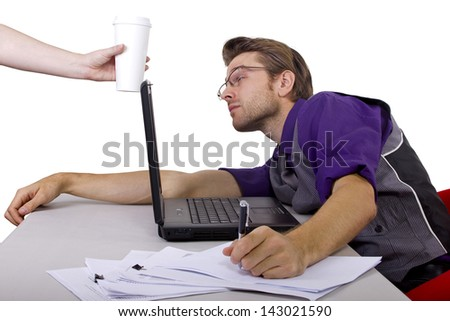 overworked accountant on tax season - stock photo