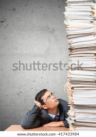 overworked assistant - stock photo