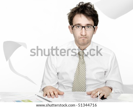 Overworked businessman isolated over white background - stock photo