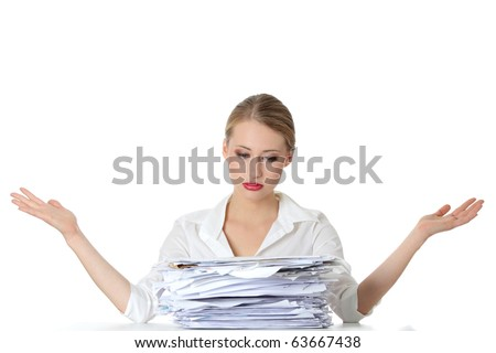 Overworked businesswoman isolated on white - stock photo