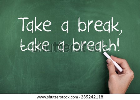 Overworked Overload Need a Break Concept / T'me for a break concept / Take a break, take a breath - stock photo
