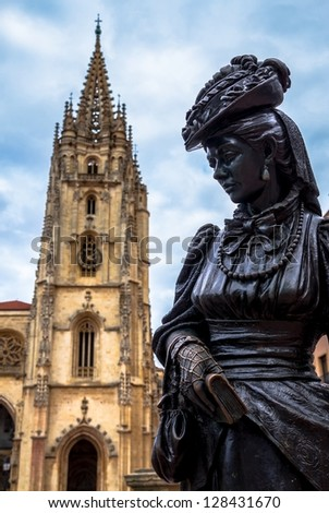 Oviedo Cathedral and Regenta statue in Asturias (Spain). - stock photo