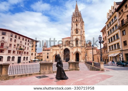 Oviedo Cathedral on Plaza Alfonso II el Casto in Asturias. Spain. - stock photo