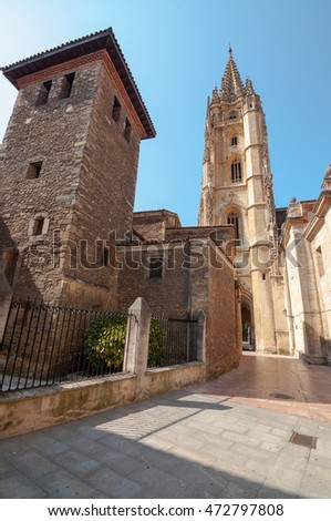 Oviedo old town center and Holy Saviour Cathedral tower, Asturias, Spain