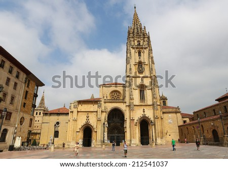 OVIEDO, SPAIN - JULY 17, 2014: Cathedral of San Salvador in Oviedo, capital of Asturias, Spain.