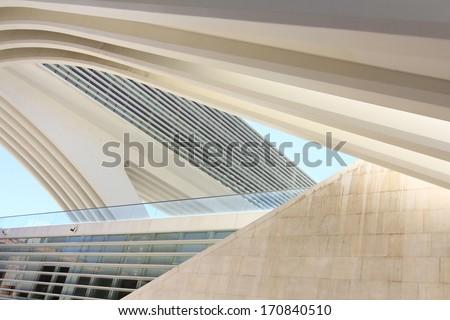OVIEDO, SPAIN - JULY 07: Exhibition center Ciudad de Oviedo in Asturias. Was designed by architect Santiago Calatrava, inaugurated in May 2011 Spain, on Oviedo July 07, 2013 - stock photo