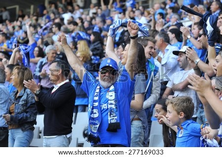 OVIEDO, SPAIN - MAY 10:  Supporters of Real Oviedo celebrate a goal during the football match between Real Oviedo and Somozas in the Carlos Tartiere stadium in May 10, 2015 in Oviedo, Spain.