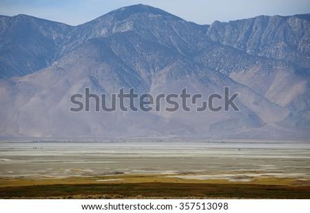 Owens lake, Sierra Nevada Mountains - stock photo