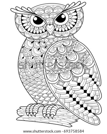 Owl Adult Antistress Coloring Page Black And White Hand Drawn Illustration For Book