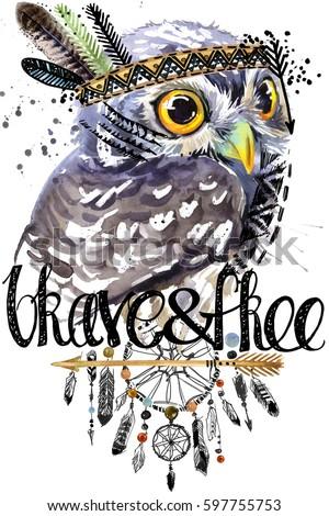 Owl American Indian Chief Headdress War Stock Illustration 597755753