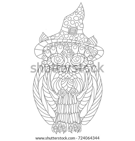 Owl Anti Stress Coloring Book For Adult Isolated Ornament On White Background With Doodle And