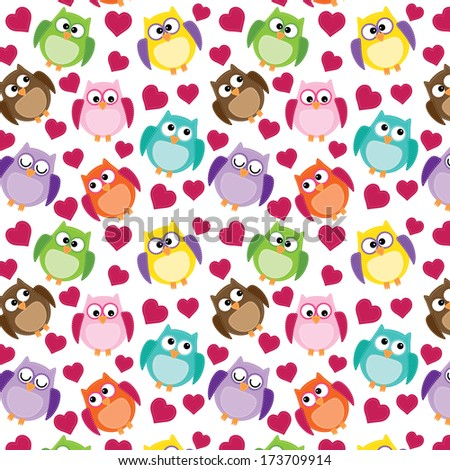 owl background with hearts on an isolated white background 12x12 for scrapbooking - stock photo