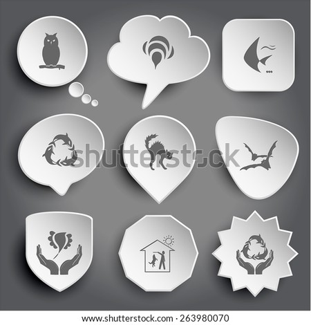 owl, bee, fish, killer whale as recycling symbol, cat, bats, bird in hands, home dog, protection sea life. White raster buttons on gray. - stock photo