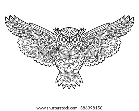 Owl bird coloring book for adults raster illustration. Anti-stress coloring for adult. Zentangle style. Black and white lines. Lace pattern