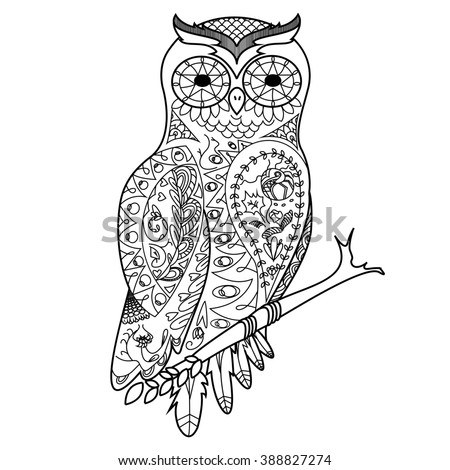 Owl Bird Coloring Book For Adults Raster Illustration Anti Stress Adult