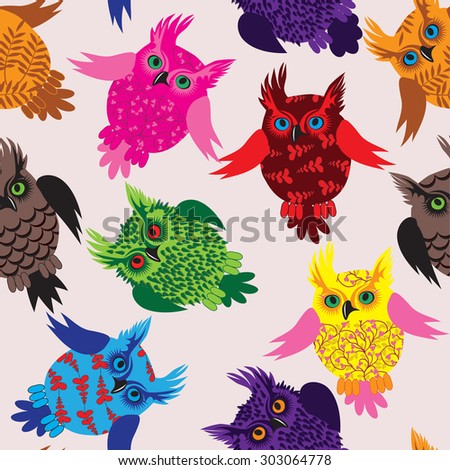 Owl bird seamless icon detail background illustration with floral pattern. Raster version. - stock photo