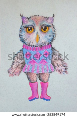 Owl dressed in a sweater and boots. Hand drawn illustration. Cute bird in clothes. - stock photo