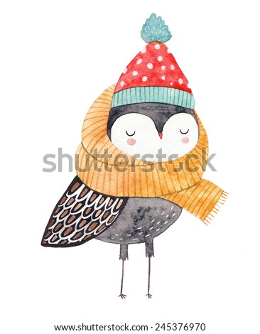owl in a scarf and hat - watercolor drawing - stock photo