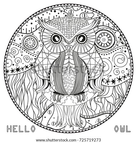 owl mandala with owl design zentangle hand drawn abstract patterns on isolation background
