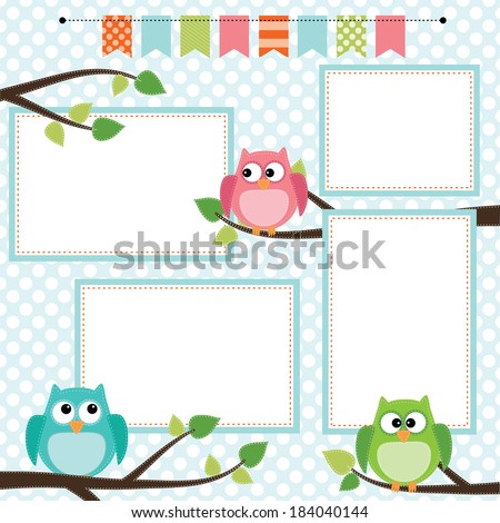 Owl scrapbooking template with banner or bunting and 4x6 frames for photos or text, illustration - stock photo