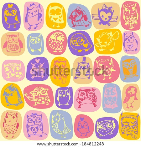 Owl seamless pattern on light background. Hand drawn illustration. Raster version.