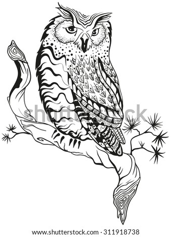 Owl sits on tree branch. Graphic design