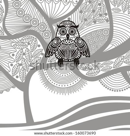 Owl tree pattern illustration - stock photo