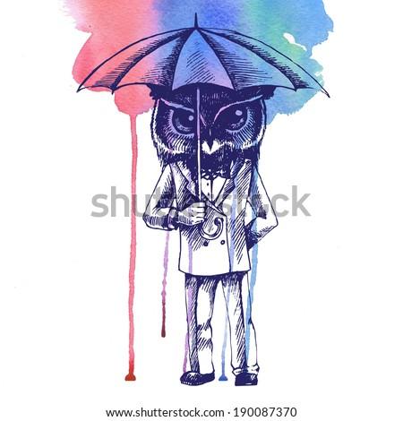 Owl with umbrella in a tuxedo. Raster hand drawn illustration. - stock photo