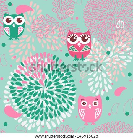 Owls background - stock photo