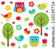 Owls, birds, flowers, butterflies, ladybugs etc. Raster version. - stock photo