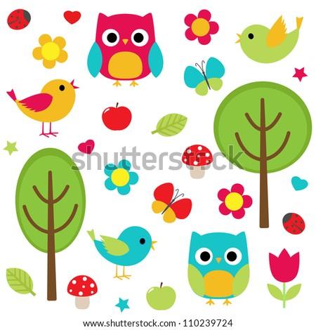 Owls, birds, flowers, butterflies, ladybugs etc. Raster version. - stock photo