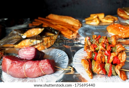 Own home smokehouse and  delicious marine fish, healthy food  - stock photo