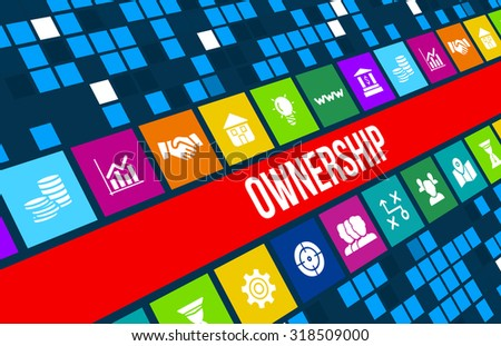 ownership concept image with business icons and copyspace - stock photo