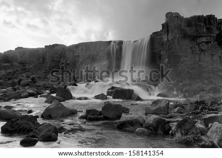 Oxararfoss waterfall in black&white, Iceland. - stock photo