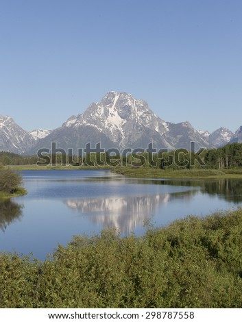 Oxbow bend on the Snake River in Grand Teton National Park - stock photo