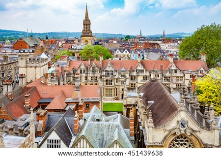 Oxford cityscape. Oxfordshire, England, UK - stock photo