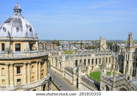 OXFORD ENGLAND  20 April 2015:  Radcliffe camera and all souls college from Church Tower