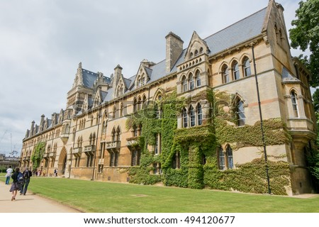 Oxford, England - 24 July 2016 - Christ Church College, a constituent college of the University of Oxford in England on 24 July 2016 in Oxford, United Kingdom