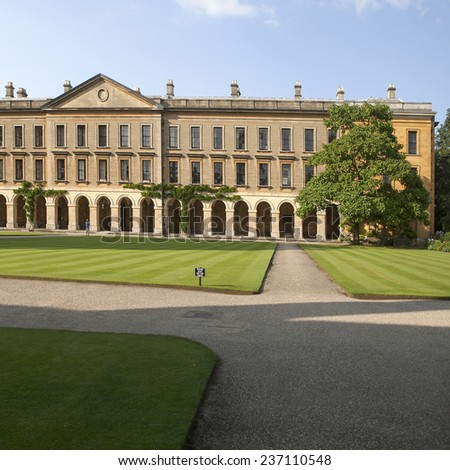 Oxford, England - July 10, 2014, The New Building of Oxford Magdalen College, on 10 July 2014 - stock photo